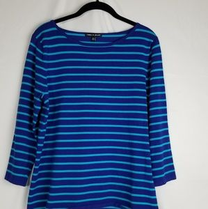 cable & gauge striped 3/4 sleeve sweater